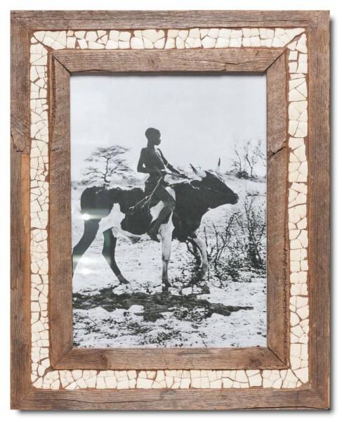 Mosaik-Bilderrahmen aus recyceltem Holz und Straußeneierschale
