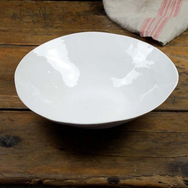 Salatschale L - weiß glasierter Rand