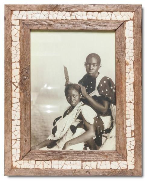 Mosaik-Bilderrahmen aus recyceltem Holz und Straußeneierschale für Fotoformat DIN A4 aus Südafrika