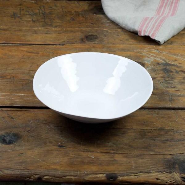 Salatschale M - weiß glasierter Rand