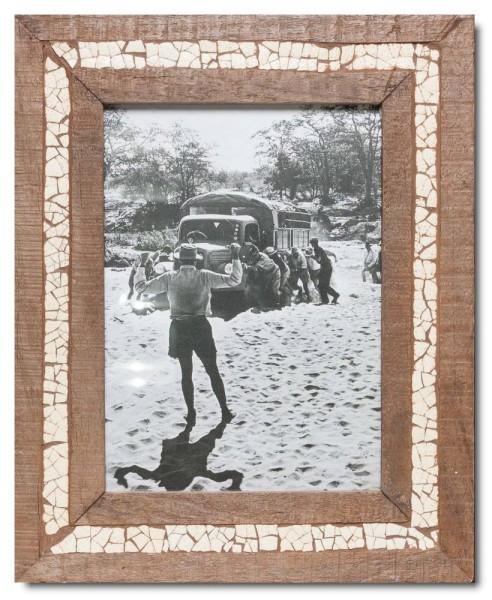 Straußenei-Mosaik Altholz Bilderrahmen aus Kapstadt