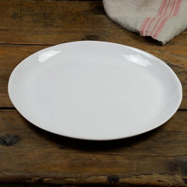 Servierplatte Paella - weiß glasierter Rand