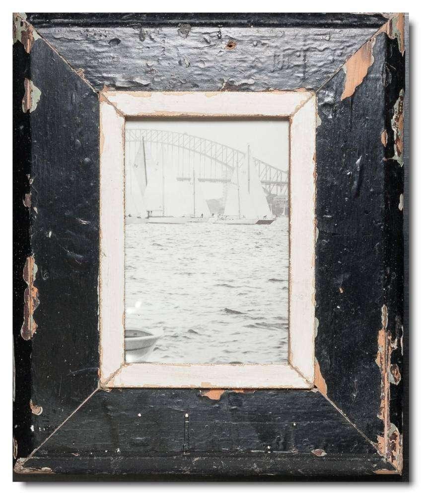 Breiter Bilderrahmen aus recyceltem Holz für Bildgröße 21 x 14,8 cm ...
