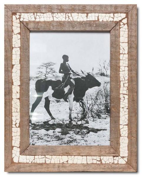 Straußenei-Mosaik Altholz Bilderrahmen für Fotoformat DIN A4 aus Kapstadt
